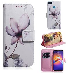 Magnolia Flower PU Leather Wallet Case for Motorola Moto E6 Play