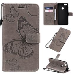 Embossing 3D Butterfly Leather Wallet Case for Motorola Moto E6 Play - Gray