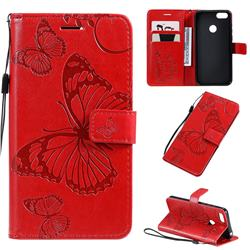 Embossing 3D Butterfly Leather Wallet Case for Motorola Moto E6 Play - Red