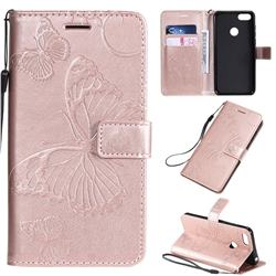 Embossing 3D Butterfly Leather Wallet Case for Motorola Moto E6 Play - Rose Gold