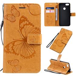 Embossing 3D Butterfly Leather Wallet Case for Motorola Moto E6 Play - Yellow
