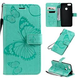 Embossing 3D Butterfly Leather Wallet Case for Motorola Moto E6 Play - Green