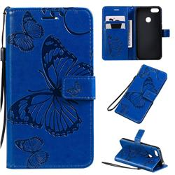 Embossing 3D Butterfly Leather Wallet Case for Motorola Moto E6 Play - Blue