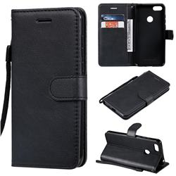 Retro Greek Classic Smooth PU Leather Wallet Phone Case for Motorola Moto E6 Play - Black