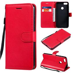 Retro Greek Classic Smooth PU Leather Wallet Phone Case for Motorola Moto E6 Play - Red
