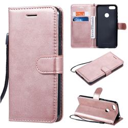 Retro Greek Classic Smooth PU Leather Wallet Phone Case for Motorola Moto E6 Play - Rose Gold