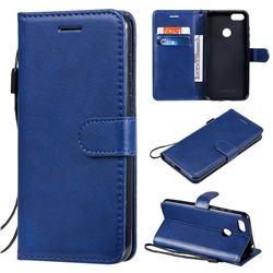 Retro Greek Classic Smooth PU Leather Wallet Phone Case for Motorola Moto E6 Play - Blue