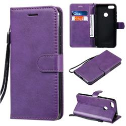 Retro Greek Classic Smooth PU Leather Wallet Phone Case for Motorola Moto E6 Play - Purple