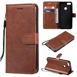 Retro Greek Classic Smooth PU Leather Wallet Phone Case for Motorola Moto E6 Play - Brown