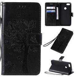 Embossing Butterfly Tree Leather Wallet Case for Motorola Moto E6 Play - Black