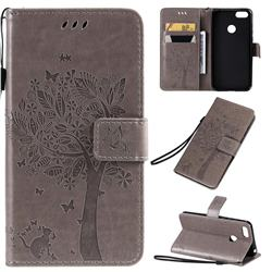 Embossing Butterfly Tree Leather Wallet Case for Motorola Moto E6 Play - Grey