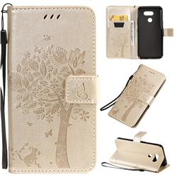 Embossing Butterfly Tree Leather Wallet Case for Motorola Moto E6 Play - Champagne