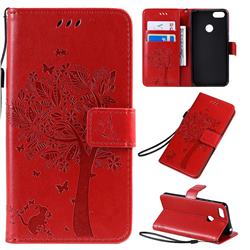 Embossing Butterfly Tree Leather Wallet Case for Motorola Moto E6 Play - Red
