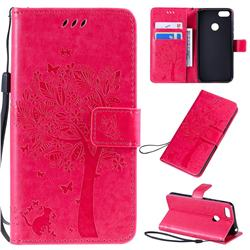 Embossing Butterfly Tree Leather Wallet Case for Motorola Moto E6 Play - Rose