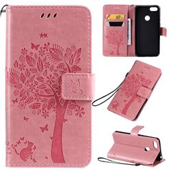 Embossing Butterfly Tree Leather Wallet Case for Motorola Moto E6 Play - Pink