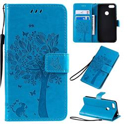 Embossing Butterfly Tree Leather Wallet Case for Motorola Moto E6 Play - Blue