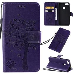Embossing Butterfly Tree Leather Wallet Case for Motorola Moto E6 Play - Purple