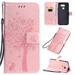 Embossing Butterfly Tree Leather Wallet Case for Motorola Moto E6 Play - Rose Pink