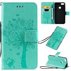 Embossing Butterfly Tree Leather Wallet Case for Motorola Moto E6 Play - Cyan
