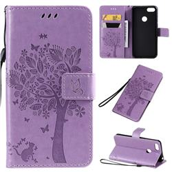 Embossing Butterfly Tree Leather Wallet Case for Motorola Moto E6 Play - Violet