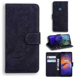 Intricate Embossing Tiger Face Leather Wallet Case for Motorola Moto E6 Play - Black
