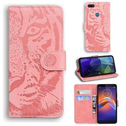 Intricate Embossing Tiger Face Leather Wallet Case for Motorola Moto E6 Play - Pink