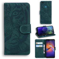 Intricate Embossing Tiger Face Leather Wallet Case for Motorola Moto E6 Play - Green