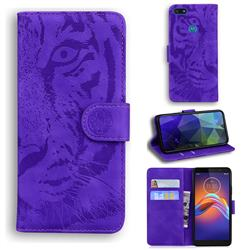 Intricate Embossing Tiger Face Leather Wallet Case for Motorola Moto E6 Play - Purple
