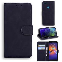 Retro Classic Skin Feel Leather Wallet Phone Case for Motorola Moto E6 Play - Black