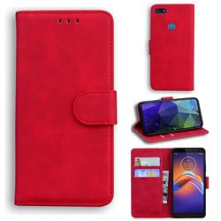 Retro Classic Skin Feel Leather Wallet Phone Case for Motorola Moto E6 Play - Red