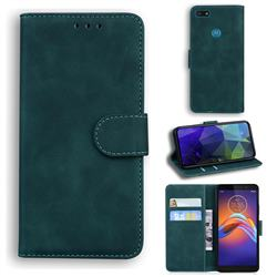 Retro Classic Skin Feel Leather Wallet Phone Case for Motorola Moto E6 Play - Green