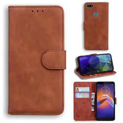 Retro Classic Skin Feel Leather Wallet Phone Case for Motorola Moto E6 Play - Brown