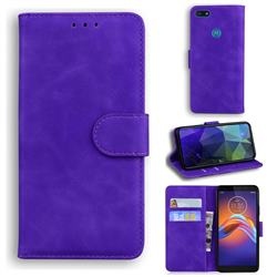 Retro Classic Skin Feel Leather Wallet Phone Case for Motorola Moto E6 Play - Purple