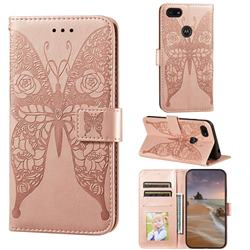 Intricate Embossing Rose Flower Butterfly Leather Wallet Case for Motorola Moto E6 Play - Rose Gold