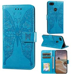 Intricate Embossing Rose Flower Butterfly Leather Wallet Case for Motorola Moto E6 Play - Blue