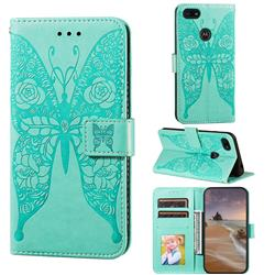 Intricate Embossing Rose Flower Butterfly Leather Wallet Case for Motorola Moto E6 Play - Green