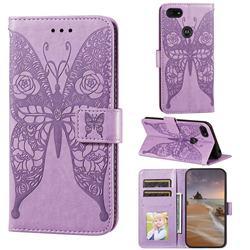 Intricate Embossing Rose Flower Butterfly Leather Wallet Case for Motorola Moto E6 Play - Purple