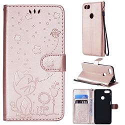 Embossing Bee and Cat Leather Wallet Case for Motorola Moto E6 Play - Rose Gold