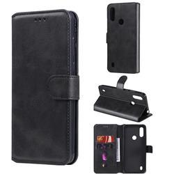 Retro Calf Matte Leather Wallet Phone Case for Motorola Moto E6s (2020) - Black