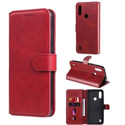 Retro Calf Matte Leather Wallet Phone Case for Motorola Moto E6s (2020) - Red