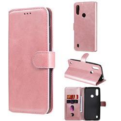 Retro Calf Matte Leather Wallet Phone Case for Motorola Moto E6s (2020) - Pink