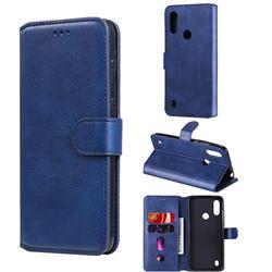 Retro Calf Matte Leather Wallet Phone Case for Motorola Moto E6s (2020) - Blue