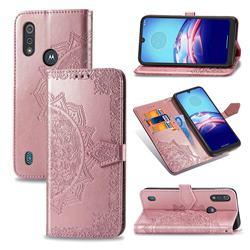 Embossing Imprint Mandala Flower Leather Wallet Case for Motorola Moto E6s (2020) - Rose Gold
