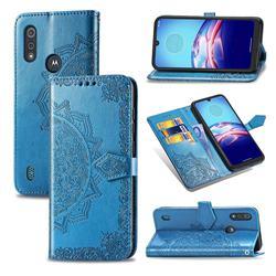 Embossing Imprint Mandala Flower Leather Wallet Case for Motorola Moto E6s (2020) - Blue