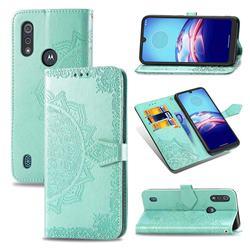Embossing Imprint Mandala Flower Leather Wallet Case for Motorola Moto E6s (2020) - Green