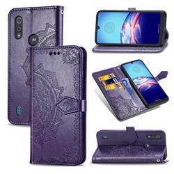 Embossing Imprint Mandala Flower Leather Wallet Case for Motorola Moto E6s (2020) - Purple