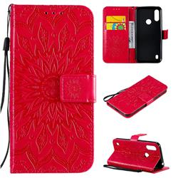 Embossing Sunflower Leather Wallet Case for Motorola Moto E6s (2020) - Red
