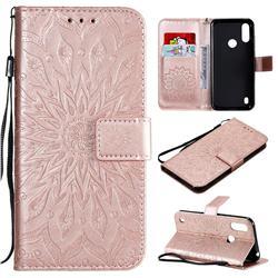 Embossing Sunflower Leather Wallet Case for Motorola Moto E6s (2020) - Rose Gold