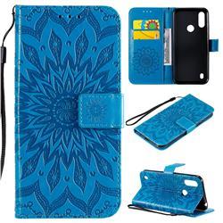 Embossing Sunflower Leather Wallet Case for Motorola Moto E6s (2020) - Blue