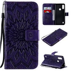 Embossing Sunflower Leather Wallet Case for Motorola Moto E6s (2020) - Purple